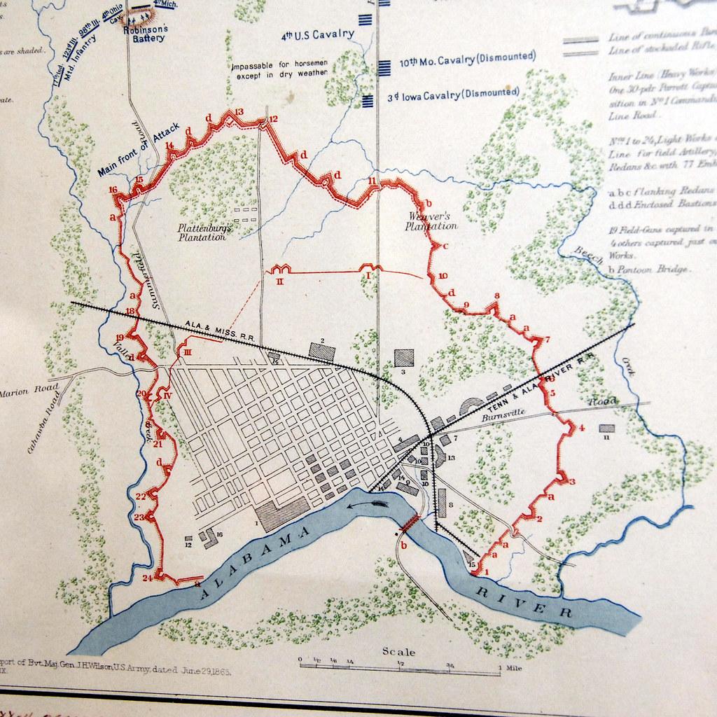 Selma Alabama Battlefield 2008, map of defenses | Major Gene ...