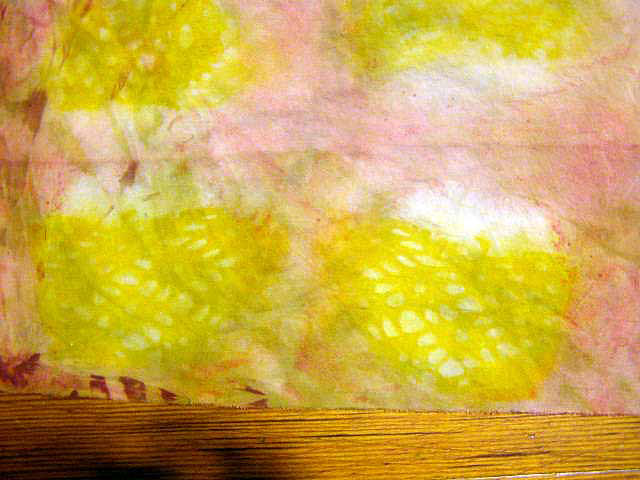 shibori painted inclusion lace   Lace was painted with thick