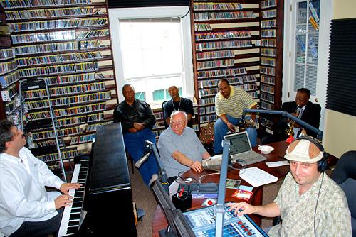David Torkanowsky, Bob French, Don Bartholomew, Cosimo Matassa, Dave Bartholomew and George Ingmire at WWOZ in 2008