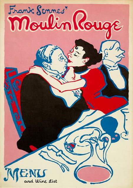 frank sennes moulin rouge menu cover 1952