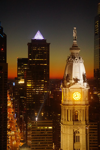 city sunset philadelphia skyline night lights cityscape dusk pennsylvania william penn philly