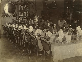 Table set in preparation for a banquet at Queens Hotel Townsville