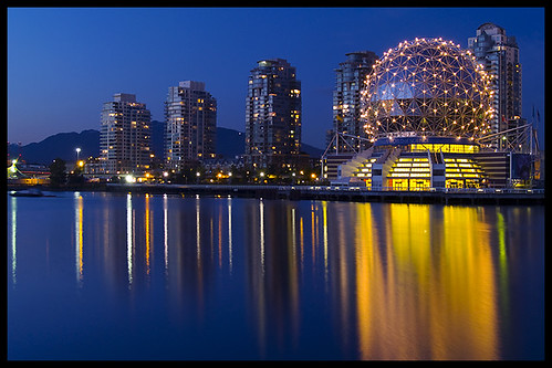 blue canada water yellow skyline architecture night vancouver reflections gold lights bc britishcolumbia dome falsecreek bluehour geodesic scienceworld telusphere telusworldofscience zd olympuse500 1445mm mywinners aplusphoto