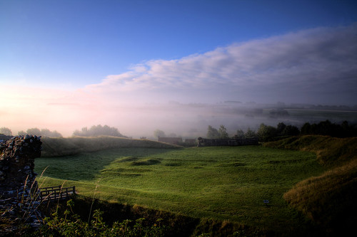 mist castle sunrise dawn norfolk castleacre