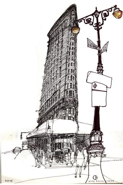 Flatiron Building | Pen & Ink Drawing of the Flatiron Buildi