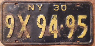 NEW YORK 1930 LICENSE PLATE