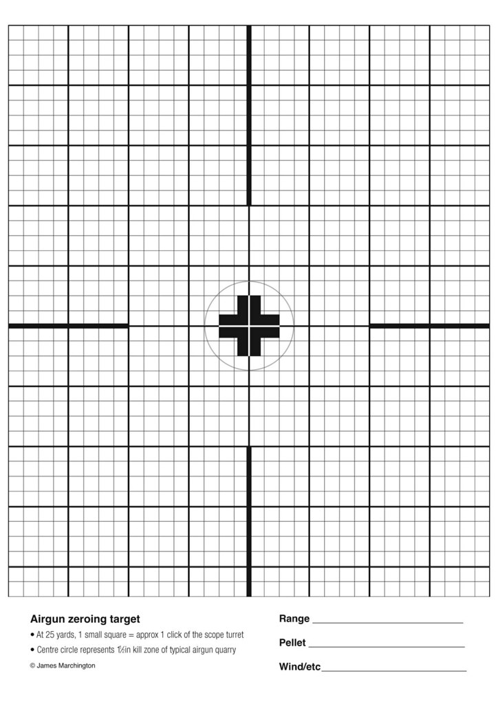 photograph regarding 100 Yard Zero Target Printable known as Airgun zeroing concentrate Print at 100% (A4 sizing) for an airgu