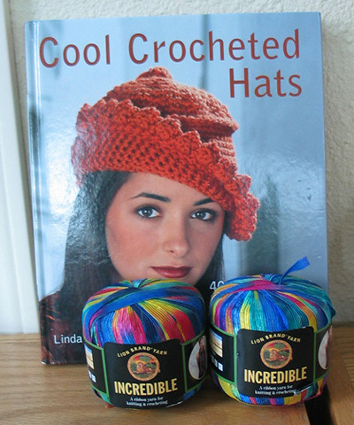 Crochet Hat Book and Ribbon Yarn | I bought two spools of ri