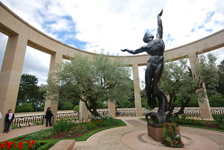 Wide angle shot of the memorial and sculpture