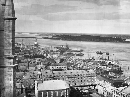 Harbour from Notre Dame Church, Montreal, QC, 1863
