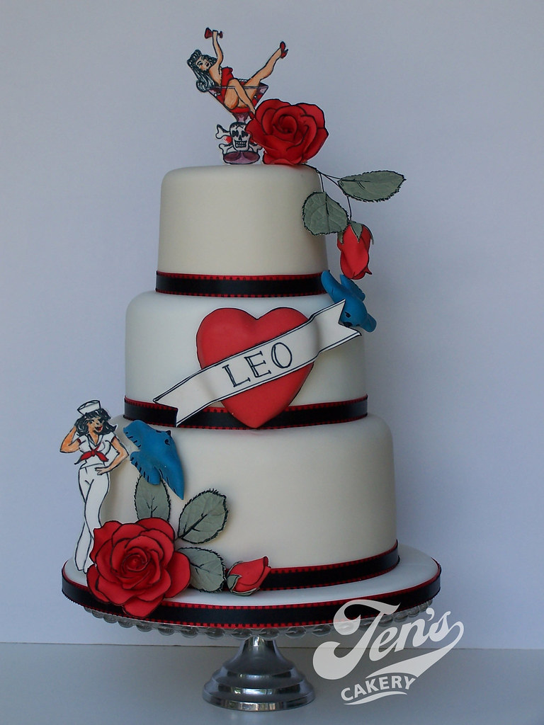 Miraculous Sailor Jerry Tattoo Cake This Is For My Husbands Birthday Flickr Birthday Cards Printable Riciscafe Filternl