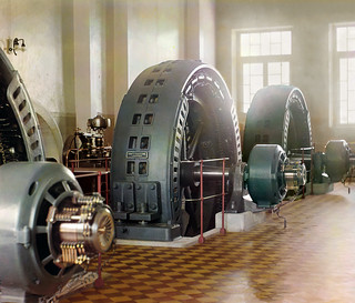 Sergei Prokudin-Gorskii: Alternators in a hydroelectric station on the Murghab River, ca. 1910