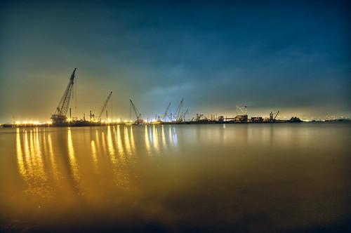 longexposure light reflection night clouds geotagged newjersey haze jerseycity long exposure industrial nocturnal crane nj container hudsonriver barge hdr mudpig portliberte stevekelley