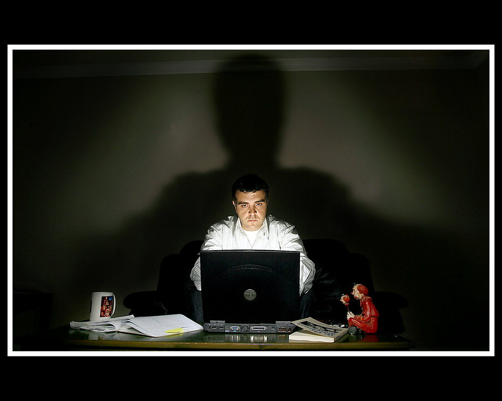Screenplay Writer | Two lights  One on the laptop keyboard w