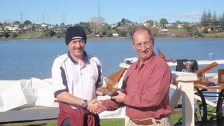 Jeff Coffin winner of 2009 Closing Regatta Trophy   by PLSC (Panmure Lagoon Sailing Club)