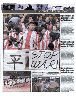 El Mundo Deportivo 25-3-03: El CONFLICTO DE IRAK, Un 'no' en Granollers