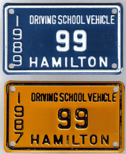 HAMILTON, ONTARIO 1987, 1989 DRIVING SCHOOL VEHICLE plates | by woody1778a