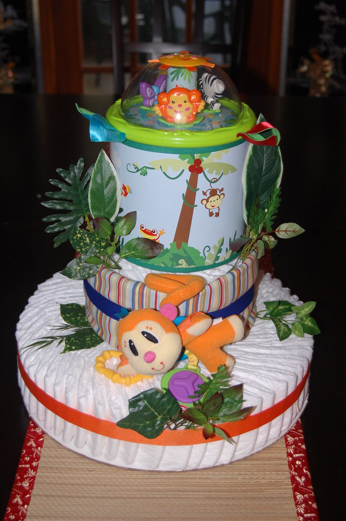 Rainforest Diaper Cake Ingredients 72 Pampers Swaddlers