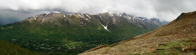Eagle River Valley from Rendezvous Peak right before the clouds dropped again