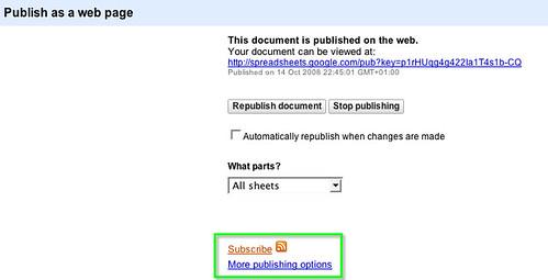 7. 6. Publishing a Google spreadsheet II   by psychemedia