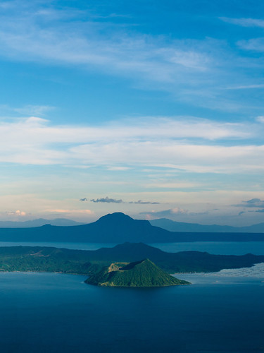 blue sky lake mountains water volcano outdoor philippines batangas laguna taal
