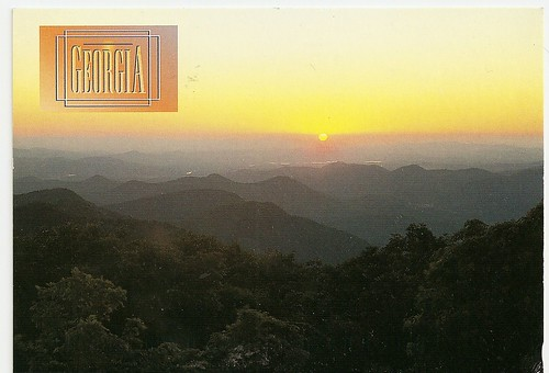 sunset usa georgia postcard bald brasstow