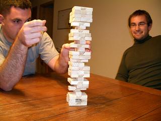 Matt and Logan playing Jenga 2   by volkspider