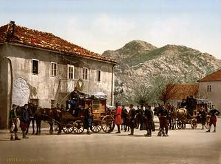 Arrival of the post, Cetinje, Montenegro, ca. 1895
