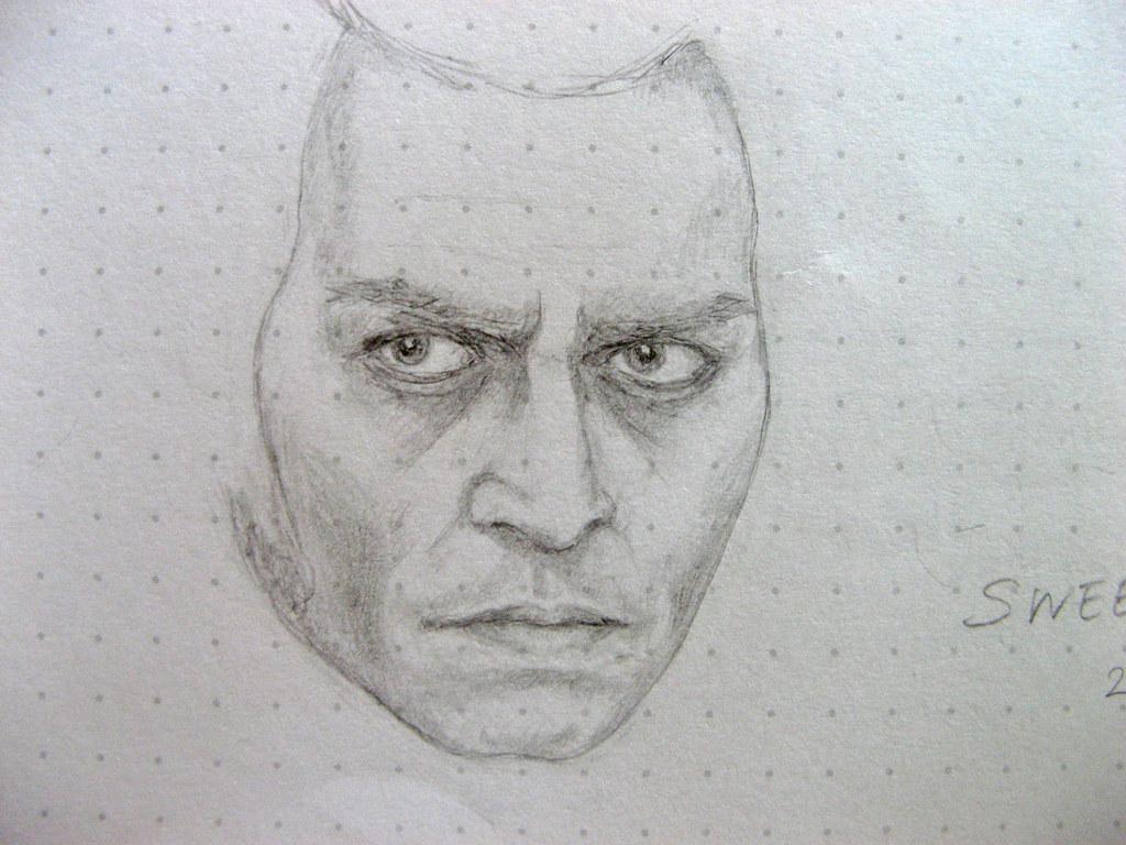 Johnny depp as sweeney todd very rough sketch of sweeney t flickr