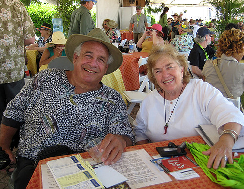 Jellyroll Justice with his wife, 'OZ volunteer Patti Averbuck in the WWOZ Hospitality Tent. (Photo by Sally Young)