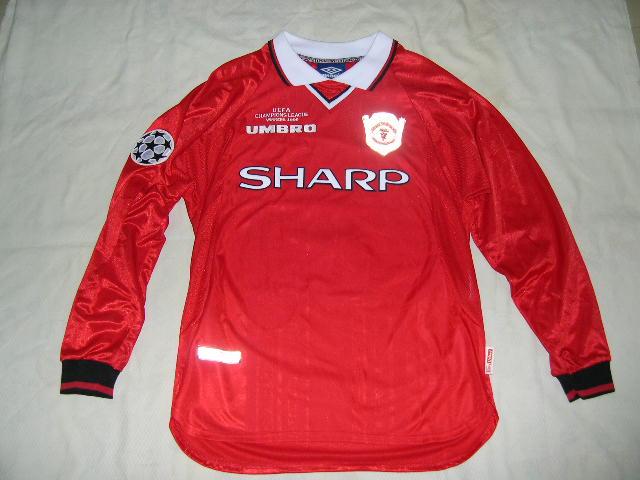 super popular de871 e294c 99/00 Manchester United Champion League Home Jersey L/S #7 ...