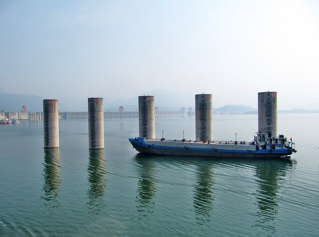 Moored behing the Three Gorges Dam