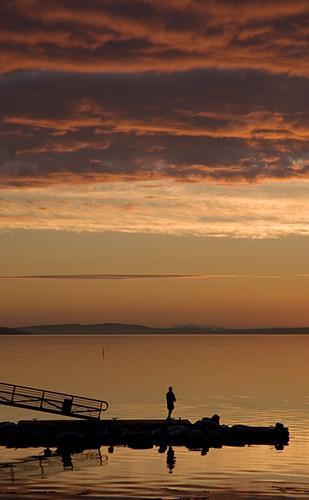 orange water sunrise dawn bay coast fisherman