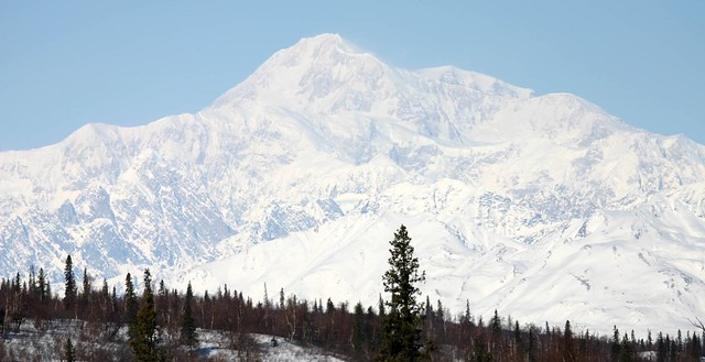 Mt. McKinley from near Denali State Park, Alaska - note the swirling winds near the peak