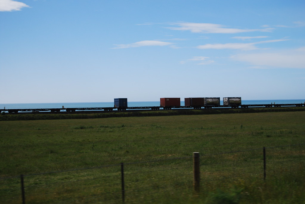 New Zealand - Kaikoura Coast - Freight Train - car window by Insta: @ablekay47