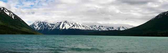 Stitched shot of Kenai Lake near the Crescent Creek campground