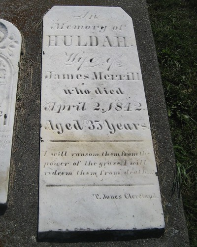 Huldah, wife of James Merrill - buried in 1842 at the Estherville Cemetery, Bayham, Elgin, Ontario, Canada | by Elgin OGS