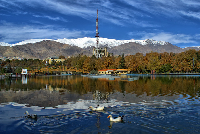 Mellat Park Lake in Fall, Tehran, Iran (Persia)