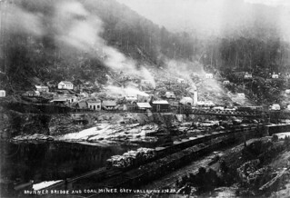 Brunner bridge and coal mines, ca 1900