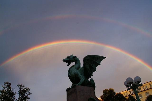 Ljubljana: Rainbow at Dragon Bridge