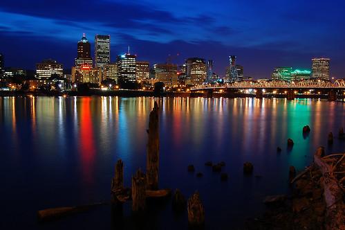 bridge skyline oregon river portland twilight nikon dusk 1855mm hawthorne willamette 밤 야경 d40 미쿡 강 다리 오래곤 포틀랜드 genjiwillbetheretomorrow