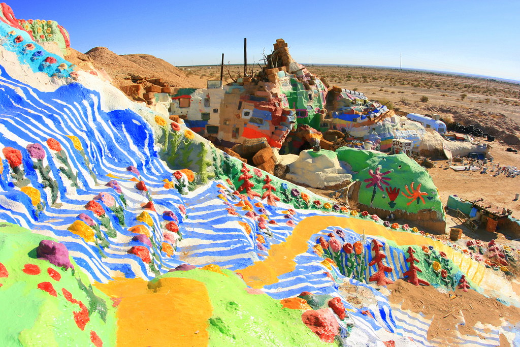 Almost at the top of Salvation Mountain
