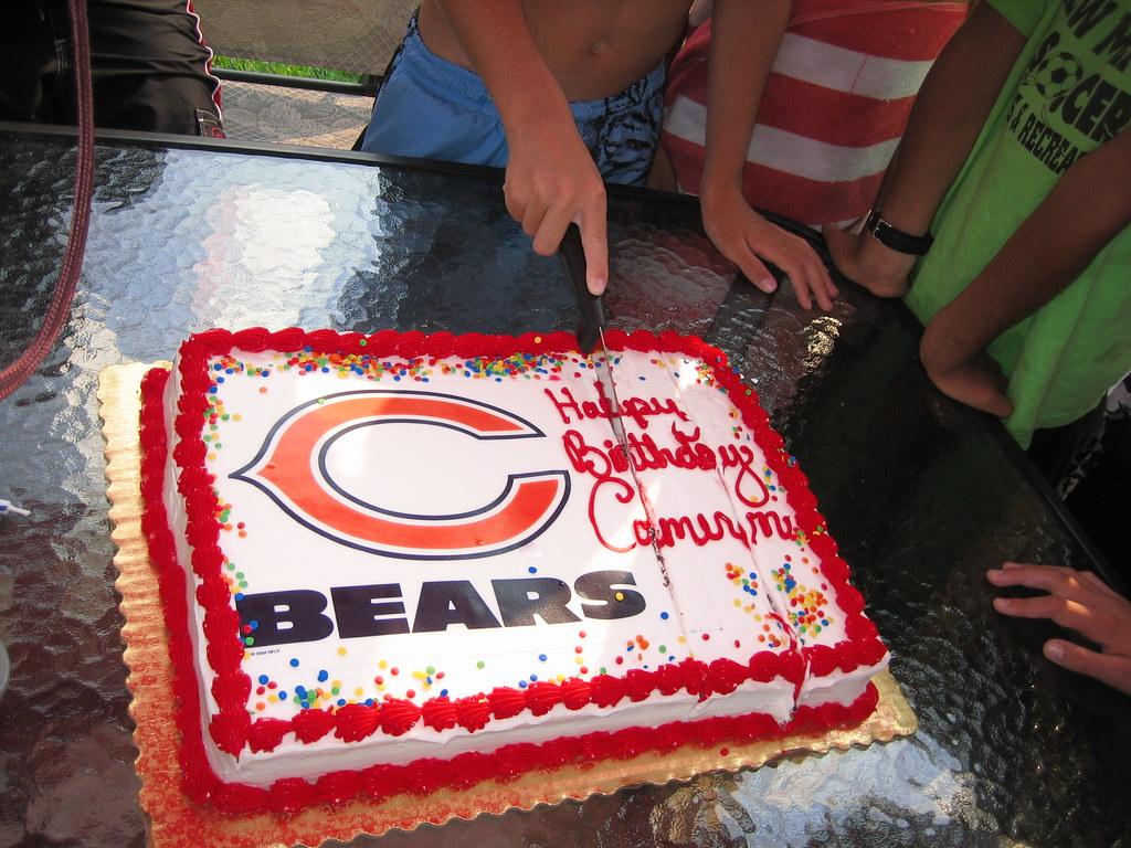 Super Cam Cutting His Chicago Bears Birthday Cake Camkay Flickr Funny Birthday Cards Online Fluifree Goldxyz