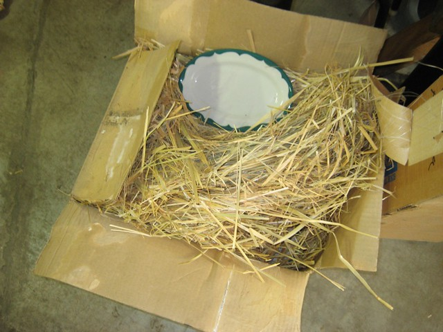 Hay as packing material
