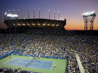 Louis Armstrong Stadium overlooking Arthur Ashe at Sunset. | by Melodie Mesiano