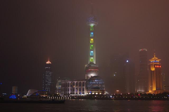 Shanghai Skyline - Lit through the fog. Shanghai, China, 2008.