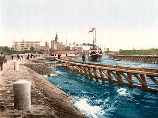 Harbor, hotel and pilot station, Colberg, Pomerania, ca. 1895