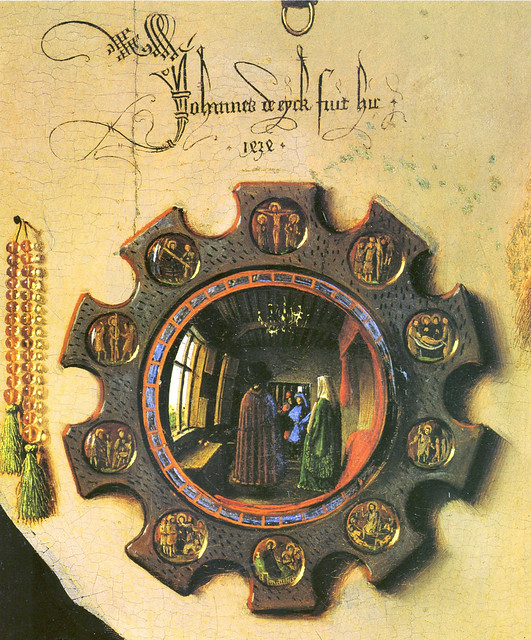 Jan van Eyck - Arnolfini double portrait, detail mirror (1434)