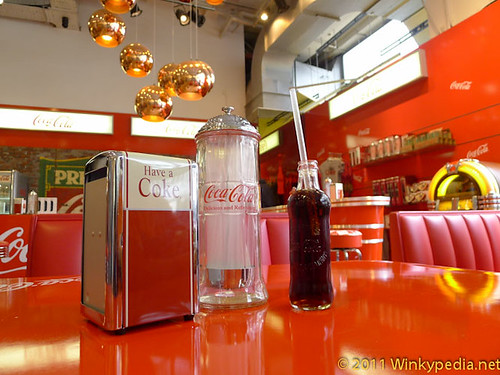Coca Cola 125th Anniversary Special Edition 'Hutchinson' bottles and 50's style soda bar at Selfridges | by Winkypedia.net