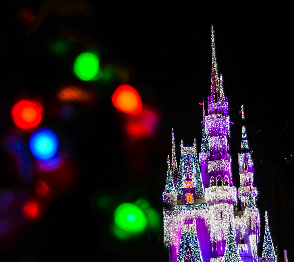 Purple Castle Christmas Lights MK